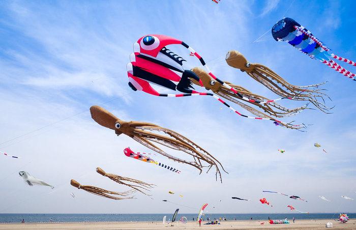 фестиваль воздушных змеев голландия пляж