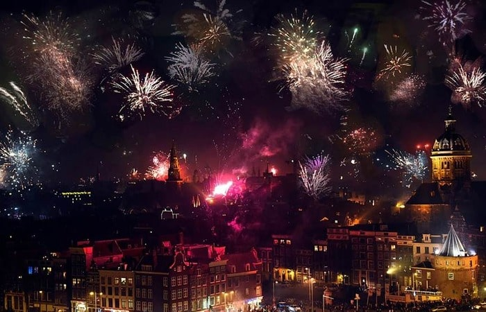 Новый год в Амстердаме на площади